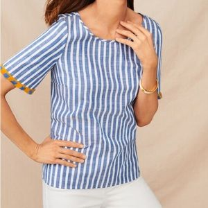 TALBOTS✨Pacific Stripe Fringe Sleeve Top M